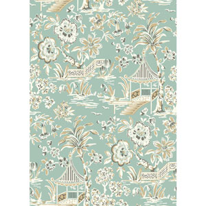 Ashford House Tropics Light Aqua and White Tahiti Scenic Wallpaper