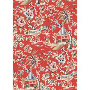 Ashford House Tropics Red and Blue Tahiti Scenic Wallpaper
