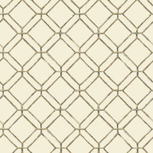 Ashford House Tropics Cream and Tan Diamond Bamboo Wallpaper