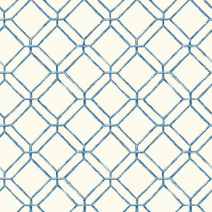 Ashford House Tropics White and Blue Diamond Bamboo Wallpaper