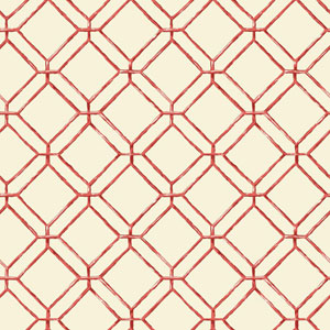 Ashford House Tropics Cream and Coral Diamond Bamboo Wallpaper