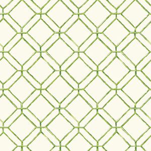 Ashford House Tropics Off-White and Green Diamond Bamboo Wallpaper