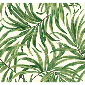Ashford House Tropics White and Green Bali Leaves Wallpaper