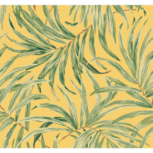 Ashford House Tropics Yellow and Green Bali Leaves Wallpaper