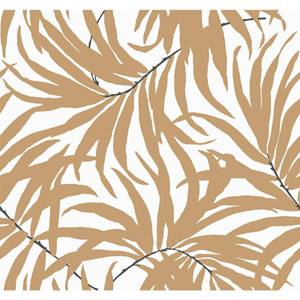 Ashford House Tropics Off-White and Tan Bali Leaves Wallpaper