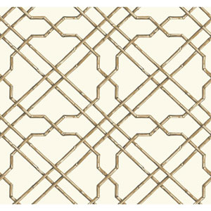 Ashford House Tropics White and Tan Bamboo Trellis Wallpaper