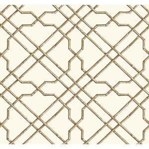 Ashford House Tropics White and Tan Bamboo Trellis Wallpaper