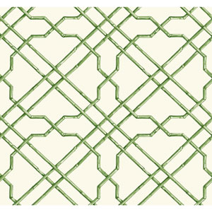 Ashford House Tropics White and Green Bamboo Trellis Wallpaper