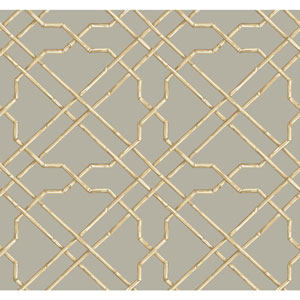 Ashford House Tropics Grey and Beige Bamboo Trellis Wallpaper