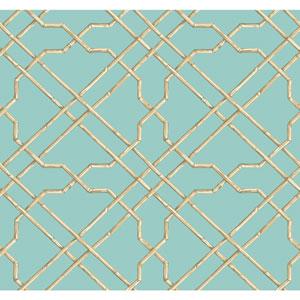Ashford House Tropics Aqua and Beige Bamboo Trellis Wallpaper