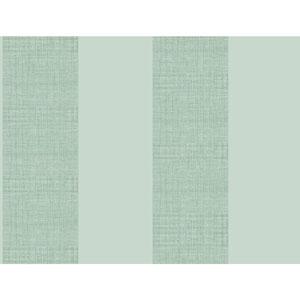 Ashford House Tropics Pale Aqua and Medium Aqua Grasscloth Stripe Wallpaper