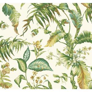 Ashford House Tropics White and Light Green Fiji Garden Wallpaper