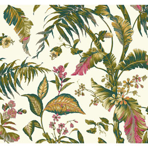 Ashford House Tropics White and Dark Green Fiji Garden Wallpaper