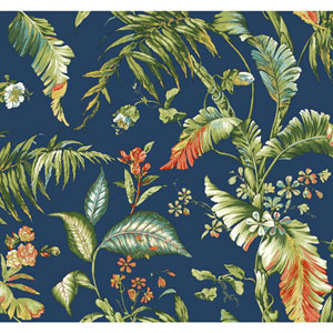 Ashford House Tropics Deep Blue and Green Fiji Garden Wallpaper