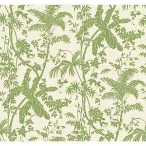 Ashford House Tropics Medium Green and Cream Palm Shadow Wallpaper