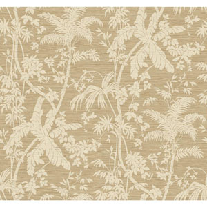 Ashford House Tropics Cream and Tan Palm Shadow Wallpaper