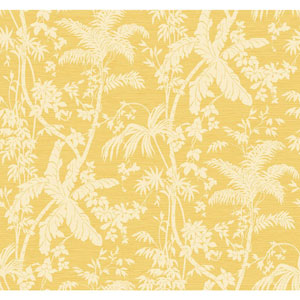 Ashford House Tropics White and Yellow Palm Shadow Wallpaper