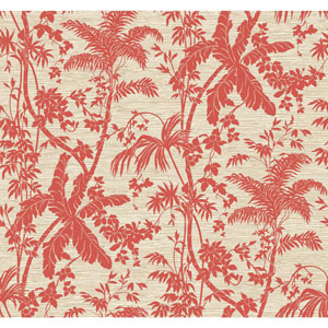 Ashford House Tropics Coral and Cream Palm Shadow Wallpaper