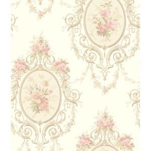 120th Anniversary White and Pink Neoclassic Cameo Wallpaper