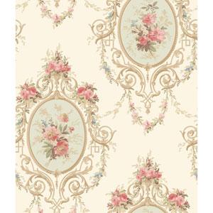 120th Anniversary White and Aqua Neoclassic Cameo Wallpaper