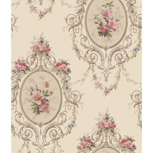 120th Anniversary Pearlescent Gold and Taupe Neoclassic Cameo Wallpaper