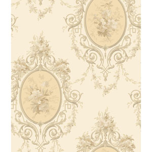 120th Anniversary Eggshell and Pale Yellow Neoclassic Cameo Wallpaper