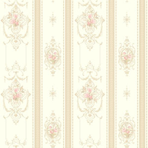 120th Anniversary Whire and Taupe Delicate Rose Stripe Wallpaper
