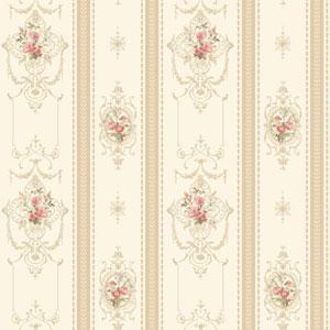 120th Anniversary White and Tan Delicate Rose Stripe Wallpaper