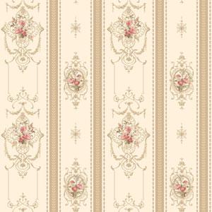 120th Anniversary Off White and Tan Delicate Rose Stripe Wallpaper