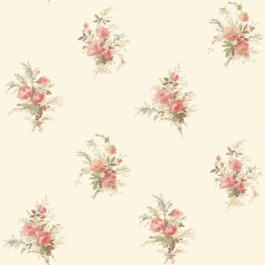 120th Anniversary White and Coral Floral Spot Wallpaper