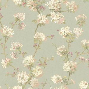 120th Anniversary Aqua and White Cherry Blossom Wallpaper