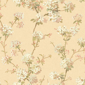 120th Anniversary Pale Gold and Pink Cherry Blossom Wallpaper