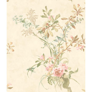 120th Anniversary Beige Wild Flowers Wallpaper