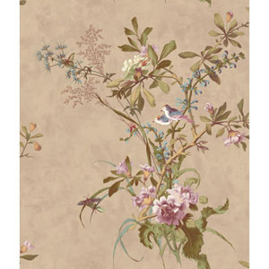 120th Anniversary Pearlescent Beige Wild Flowers Wallpaper