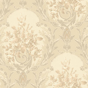 120th Anniversary Pearlescent Grey Architectural Floral Wallpaper