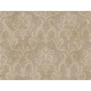 120th Anniversary Silver and Beige Delia Damask Wallpaper