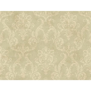 120th Anniversary Pale Green Grey and Gold Delia Damask Wallpaper