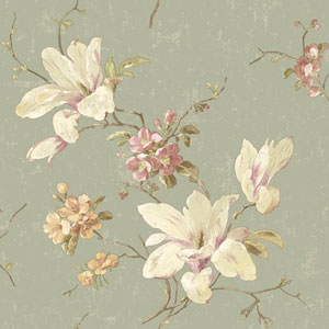 120th Anniversary Grey Green Magnolia Wallpaper