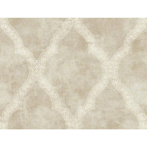 Charleston Metallic Beige and Cream Woven Trellis Wallpaper