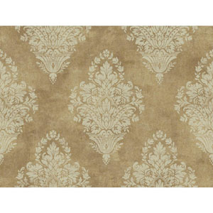 Charleston Gold and Beige Woven Damask Wallpaper