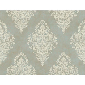 Charleston Pearl Blue and Cream Woven Damask Wallpaper