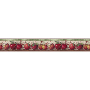 Country Keepsakes Taupe and Red Just Apples Border
