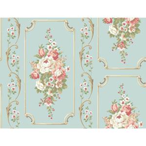 Casabella II Aqua Floral Panel Wallpaper