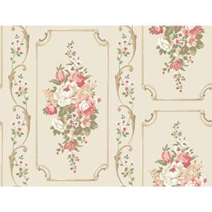 Casabella II Warm White Floral Panel Wallpaper