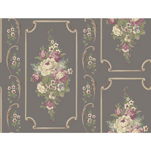 Casabella II Pewter Sheen Floral Panel Wallpaper