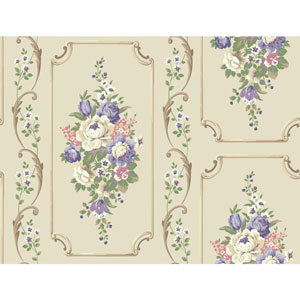 Casabella II Beige Floral Panel Wallpaper