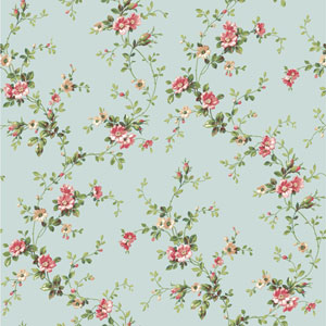 Casabella II Aqua Floral Trail Wallpaper