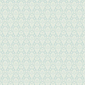 Casabella II Aqua and Light Cream Intricate Damask Wallpaper