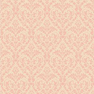 Casabella II Blush Pink and Cream Elegant Damask Wallpaper