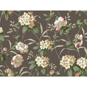 Casabella II Stone Taupe Rhododendron Floral Wallpaper